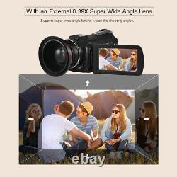 Ordro Ac3 4k Wifi Caméra Vidéo Numérique Caméscope DV 30x + Objectif + Support De Microphone +