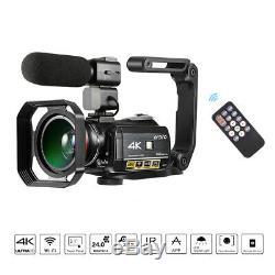 Ordro Ac3 4k Wifi Caméscope Numérique Caméra Vidéo 24mp 30x + Microphone + Support