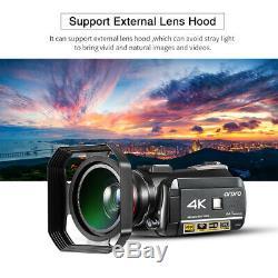 Ordro Ac3 4k Wifi Caméscope Numérique Caméra Vidéo Avec Objectif + Microphone + Capot F1e2
