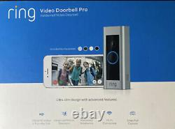 Ring Video Doorbell Pro 1080p Wi-fi Hard Wired Smart Hd Camera Avec Vision Nocturne