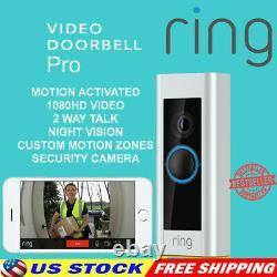 Ring Video Doorbell Pro Hardwired Hd Vidéo De Nuit Caméra De Vision Fonctionne Avec Alexa