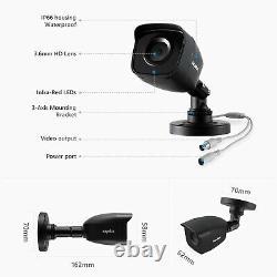 Sannce 1080p Hdmi 8ch 5in1 Dvr 3000tvl Ir Extérieur Cctv Security Camera System 1t