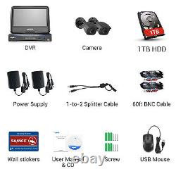 Sannce 1080p Hdmi Dvr 3000tvl Cctv Security Camera System Avec Moniteur 10.1lcd