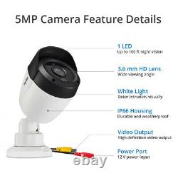 Sannce 5mp 8ch Dvr Video Security Ai Light Alert Home Outdoor Camera System 4 To
