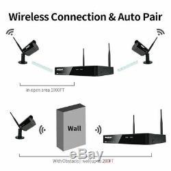 Tmezon 1080p Sans Fil Wifi Caméra Extérieure 8ch Hd Nvr 1tb Audio Système De Sécurité