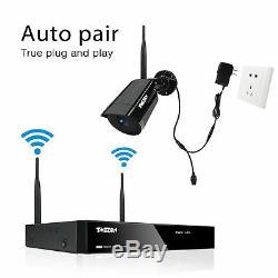 Tmezon 4ch 1080p Sans Fil Wifi Sécurité Caméra Hd Nvr Accueil Extérieur Système Ip