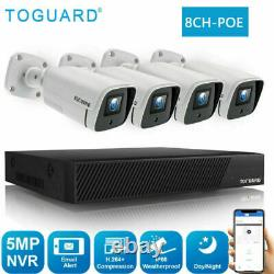 Toguard 1080p Caméra De Sécurité Cctv 5mp Poe 8ch Nvr Home Outdoor System 3000tvl