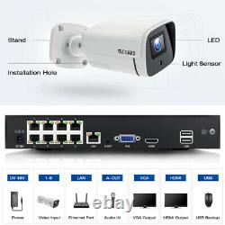 Toguard 5mp Poe Home Security Ip Camera System 8ch Nvr Outdoor Ir Night Vision