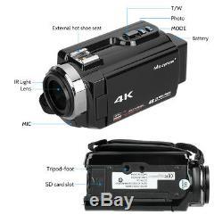 Ultra Hd 4k 1080p Wifi 48mp Caméscope Caméra Vidéo Numérique Enregistreur DV + MIC + Objectif
