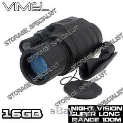 Vision Nocturne Chasse Caméra Lunettes Jumelles Monoculaire Sécurité Nv Numérique 16g