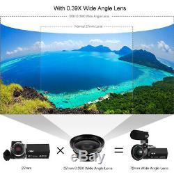 Wifi 4k Hd Caméscope Numérique Caméra Vidéo DV Vision Nocturne + MIC + Objectif 48mp 16x Zoom
