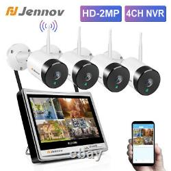 Wireless 4ch Nvr 12'' Monitor 1080p Ip Camera System Wi-fi 2mp Security Home Cctv
