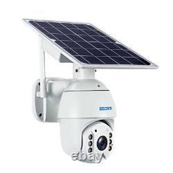 Wireless Solar Powered Wifi Caméra De Sécurité Lumière Extérieure De Déluge Led Ptz