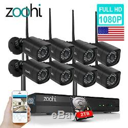 Zoohi Système De Caméra De Sécurité Extérieure Sans Fil Wifi 1080p Cctv 1080p 1/4 2tb / 8ch