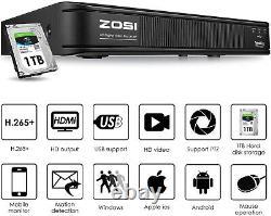 Zosi H. 265+ 1080p Dvr 8ch Enregistreur Vidéo Surveillance Cctv Sécurité Système 1tb